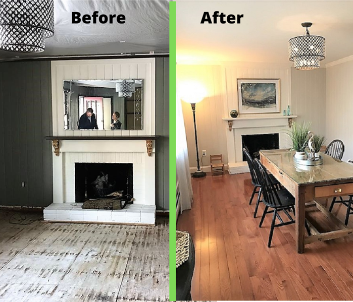 before and after photos of a dining room