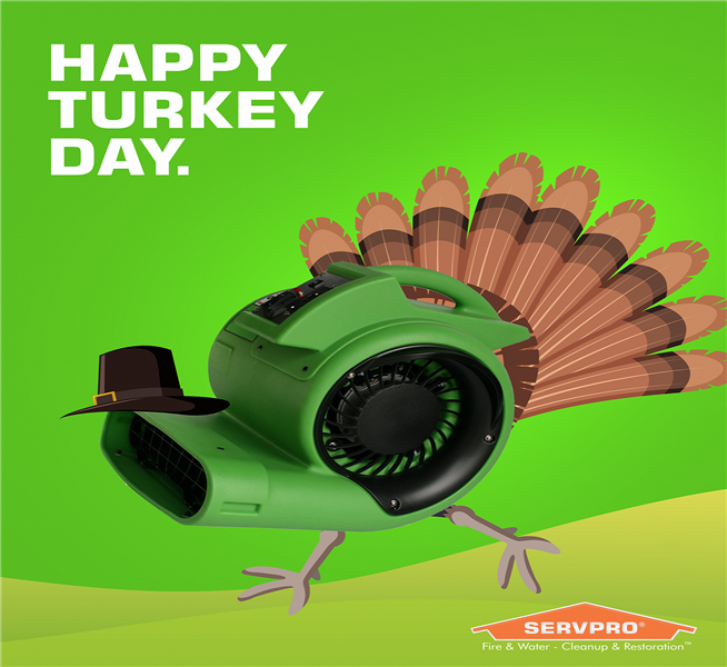 graphic image of a turkey with servpro air cleaner as its body