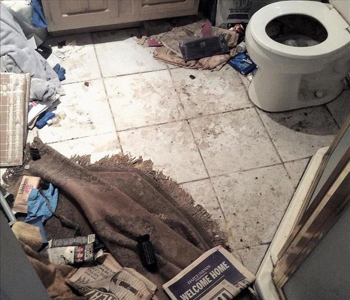 Bathroom floor covered with excrement and a newspaper that says welcome home on the floor